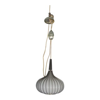 Mid-Century Modern Blown Glass Bulbous Hanging Fixture For Sale