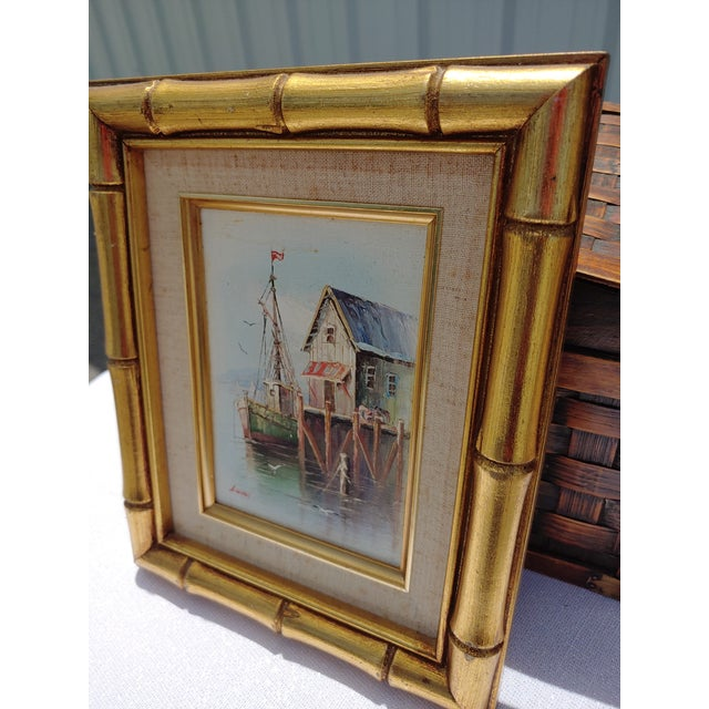 1960s French Framed Oil Painting on Canvas of a Harbor Scene For Sale - Image 5 of 9
