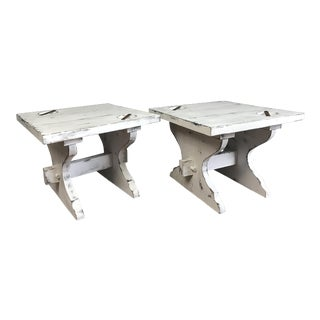 Farmhouse Style Side Tables - A Pair For Sale