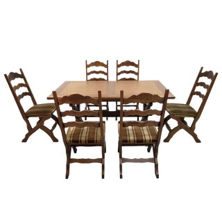 Italian Mid Century Vintage Dining Set Table and 6 Ladder Back Dining Chairs For Sale