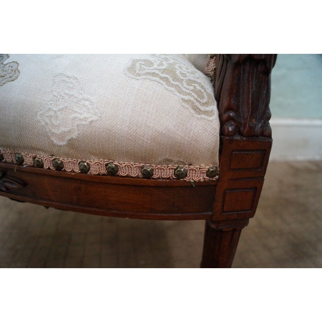 Vintage Chinese Chippendale Style Wing Chair - Image 8 of 10