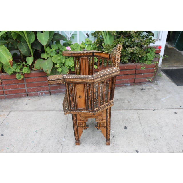 Wood Moroccan 1920's Side Chair For Sale - Image 7 of 9