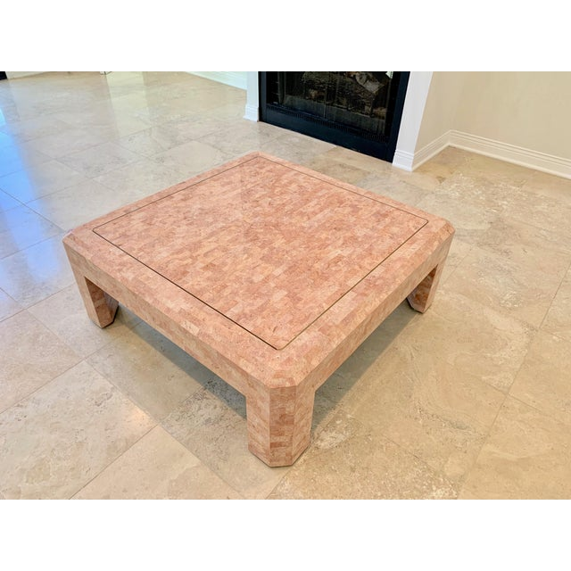 Art Deco Maitland Smith Hollywood Regency Pink Tessellated Stone Coffee Table For Sale - Image 3 of 7