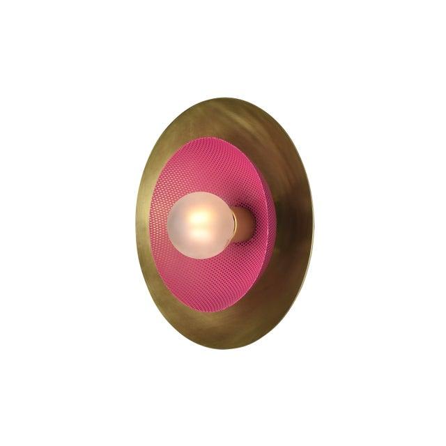 Blueprint Lighting Centric Wall Sconce in Solid Brass + Fuschia Enamel Mesh Blueprint Lighting 2019 For Sale - Image 4 of 5