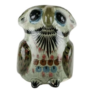 Vintage Mexican Pottery Owl Sculpture For Sale