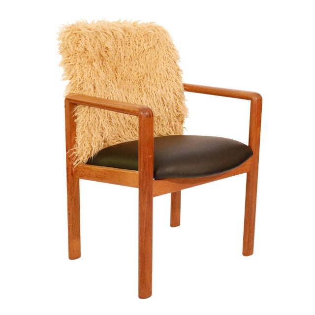 Mid-Century Curated Danish Teak Armchair With Mongolian Faux Fur 1970's Circa For Sale