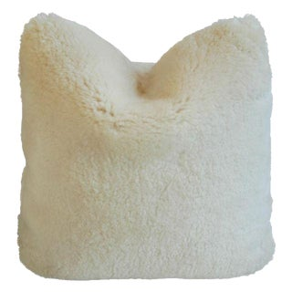 Cream Ivory Lambswool Shearling Pillow