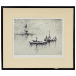 "1930's ""Evening on the Maas"" Etching by British Artist Sydney Mackenzie Litten For Sale"