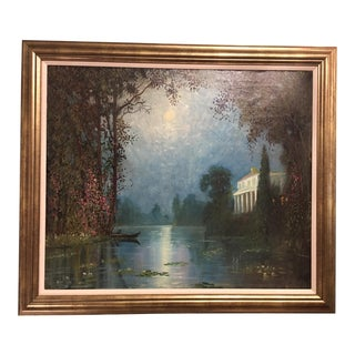 """Italian Villa in Moonlight"" Oil on Canvas Painting For Sale"