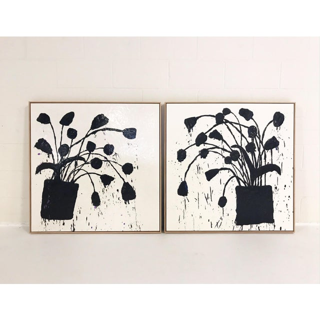 """2010s Pair of Abstract Paintings, """"Botanical, 221"""" by John O'Hara - 37""""x37"""" Each Board For Sale - Image 5 of 6"""