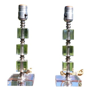 Vintage Pair Mid Century Modern Stacked Lucite Table Lamps Hollywood Regency For Sale