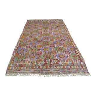 Mid 20th Century Turkish Anatolian Kilim Embroidery Rug-5′9″ × 8′9″ For Sale