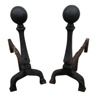 Antique Iron Cannonball Andirons - A Pair For Sale