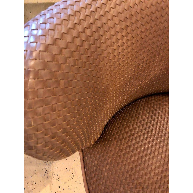 Modern Pair of Woven Modern Leather Seat and Backrest Side Chairs in Brown For Sale - Image 3 of 7
