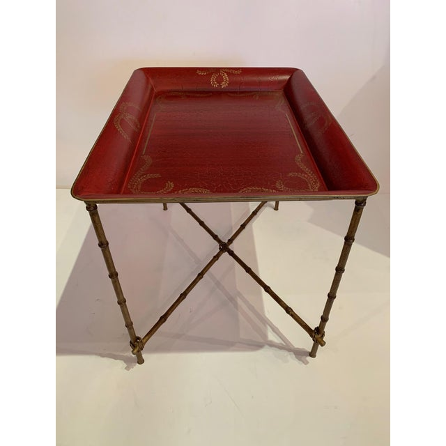 Metal Tray Top Side Table With Gilt Bamboo Base For Sale - Image 7 of 13