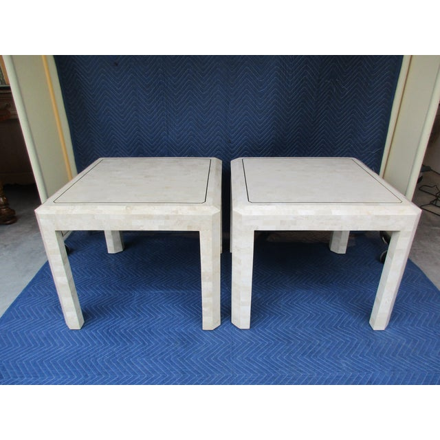 Maitland Smith Tessellated Stone and Brass Side Tables - a Pair For Sale - Image 12 of 12