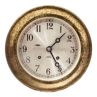 Vintage Marine Brass Cased Clock by Chelsea Clock Company For Sale