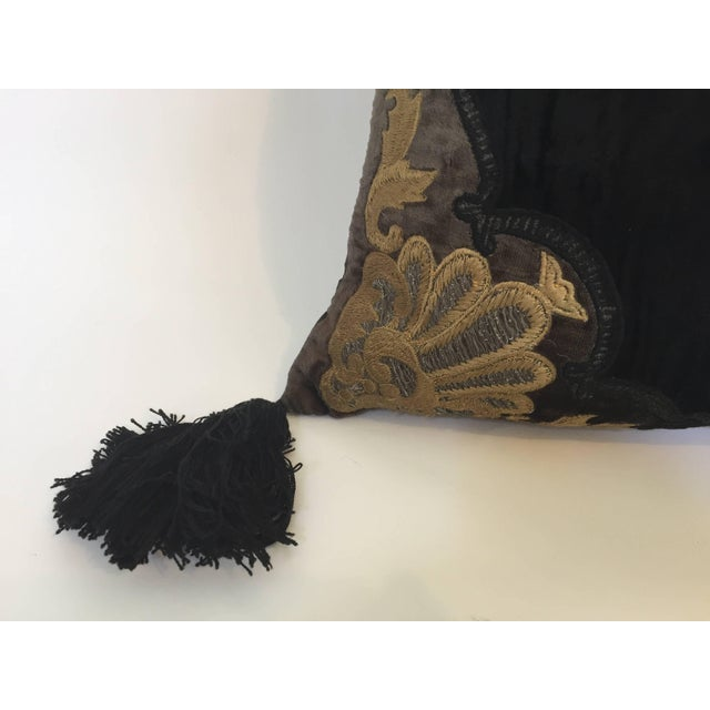 Baroque Moroccan Black Silk Decorative Pillow With Gold Metallic Threads and Tassels For Sale - Image 3 of 10