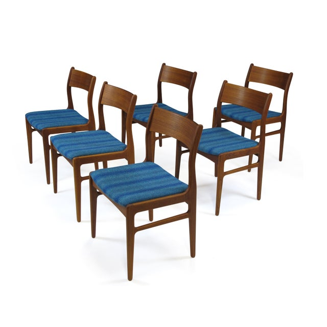 Funder-Schmidt and Madsen Teak Dining Chairs in Blue Wool - Set of 6 For Sale - Image 9 of 11