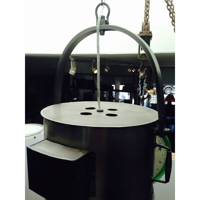 Large Industrial Hanging Pendant Light Chandelier For Sale - Image 9 of 11