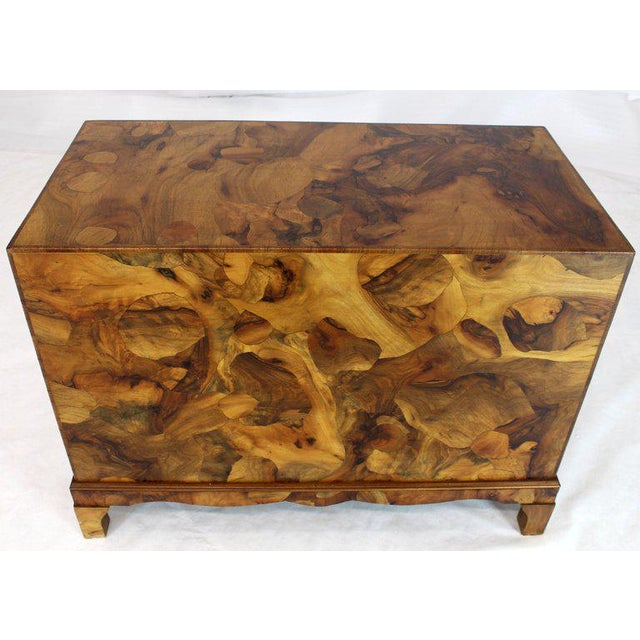 "Vivid burl wood patch work Italian mid-century modern campaign bachelor chest. Beautiful finished back exposing a ""wall""..."