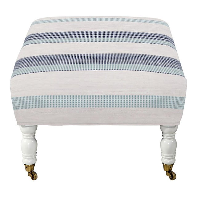 Transitional Oliver Cocktail Ottoman in Navy Turquoise Stripe For Sale - Image 3 of 5