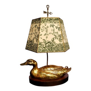 Vintage Brass Decoy Table Lamp with Printed Shade For Sale