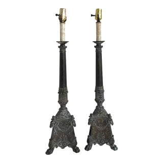 Italian Neoclassical Sculpted Brass Table Lamps - a Pair For Sale