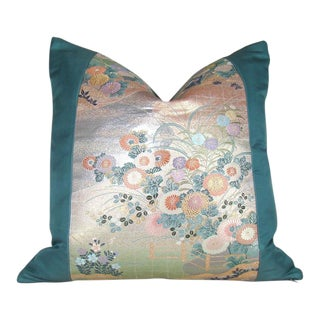 Vintage Japanese Floral Silk Obi Pillow Cover For Sale