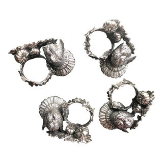 Turkey Napkin Rings 1824 Collection by Reed & Barton - Set of 4 For Sale