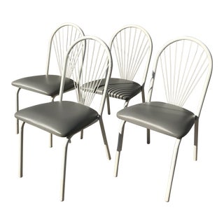 White Sunburst Metal Chairs- Set of 4 For Sale