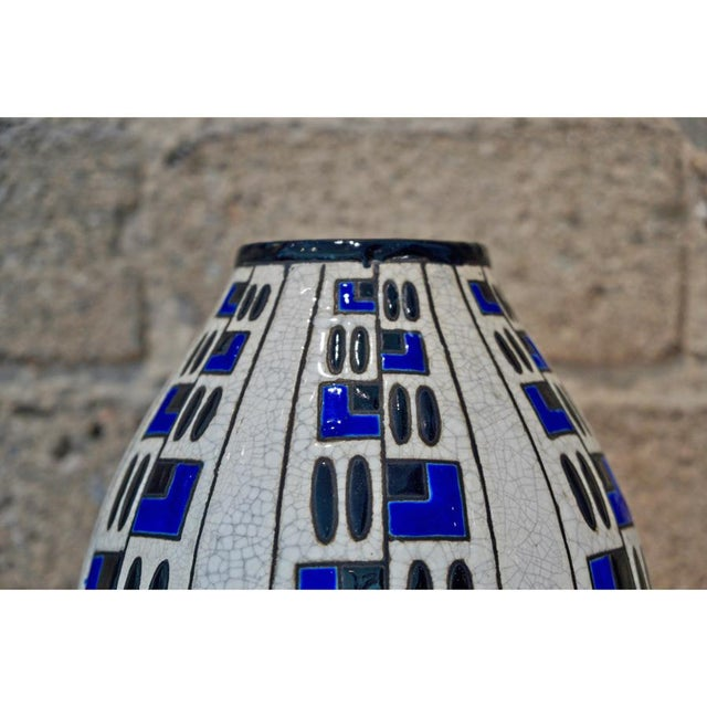 Art Deco 1920s Jacques Adnet Glazed Blue & Black Vase For Sale - Image 3 of 5