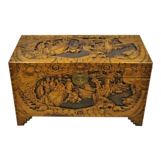 Antique Chinese Carved Camphor Wood Figural Trunk For Sale