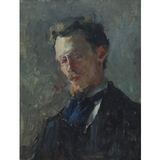 Raymond Thibésart Early Self-Portrait Oil on Canvas Painting For Sale