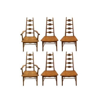 Midcentury Adrian Pearsall Style Brutalist Oak Dining Chairs- Set of 6 For Sale