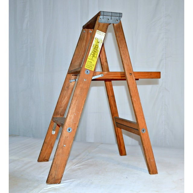 Mid 20th Century Vintage Wooden Ladder with Tool Shelf For Sale - Image 5 of 7