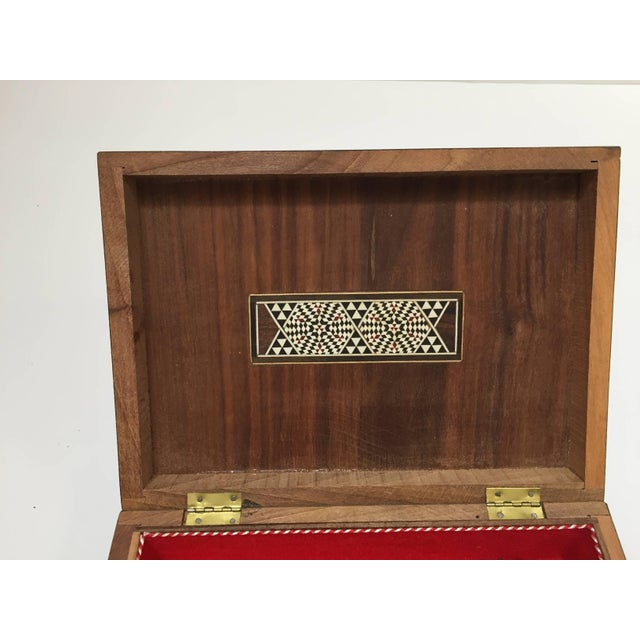 Red Middle Eastern Syrian Mother of Pearl Inlay Jewelry Box For Sale - Image 8 of 10