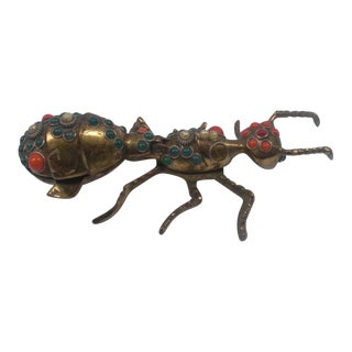 Antique Bejeweled Brass Ant Ashtray For Sale