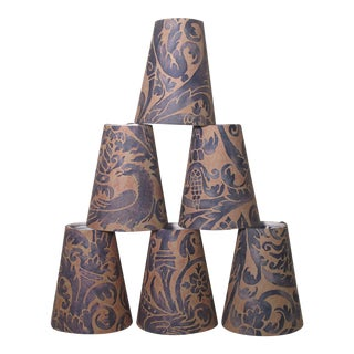 Fortuny Uccelli Pattern Chandelier Shades - Set of 6 For Sale