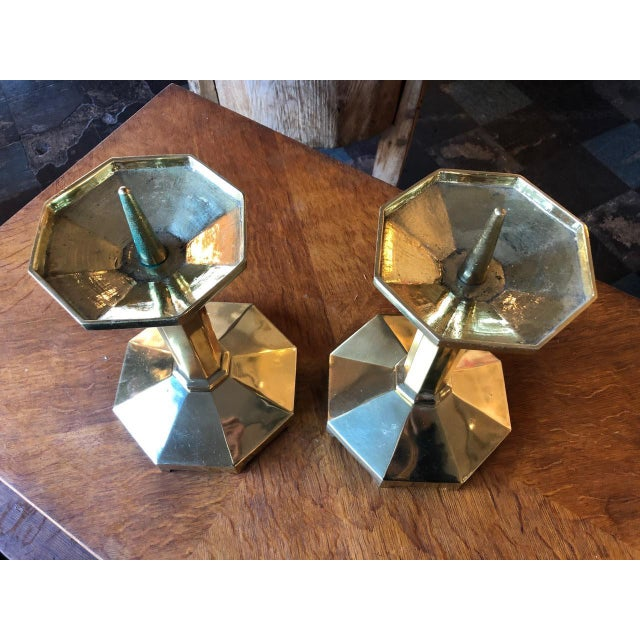stunning pair of candlesticks with patina!