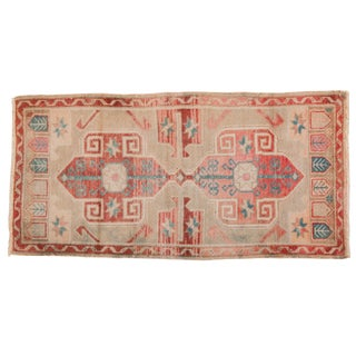 "Vintage Distressed Oushak Rug - 1'10"" X 3'7"" For Sale"