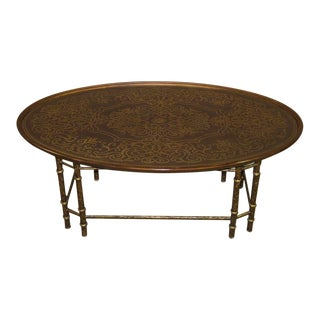 20th Century Boho Chic Oval Metal Inlaid Cocktail Table For Sale