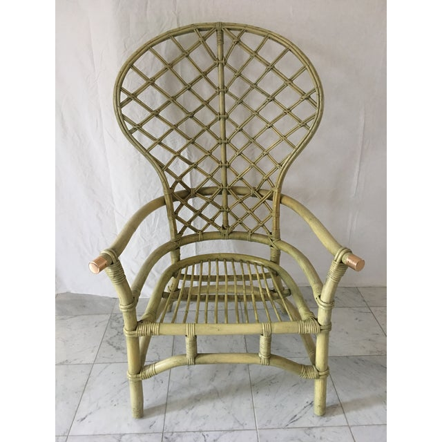 Vintage Green Rattan Fan Back Chair - Image 2 of 11