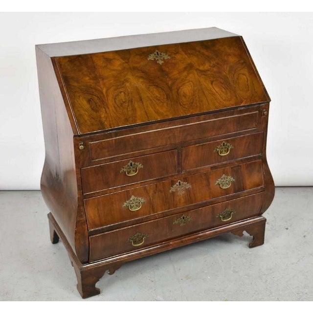 18th Century 18th Century George 11 Burr Walnut Bombe Drop Front Writing Desk Bureau For Sale - Image 5 of 7