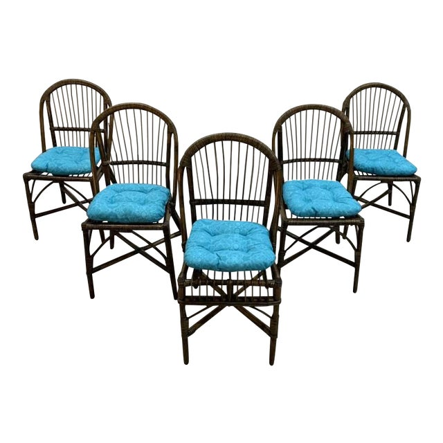 Set of 5 Italian Vintage Bamboo Patio Dining Chairs For Sale