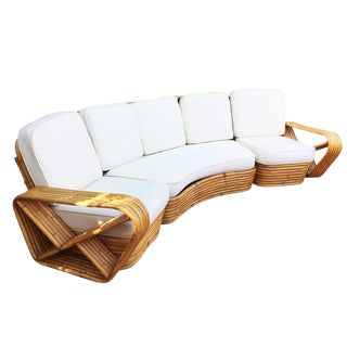 Restored Paul Frankl Style Six Strand Rattan Five-Seat Curved Sectional Sofa For Sale