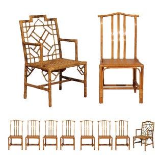 Elegant Set of Ten Restored Vintage Rattan Dining Chairs For Sale