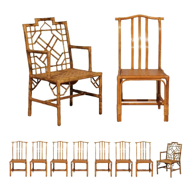 Remarkable Elegant Set Of Ten Restored Vintage Rattan Dining Chairs Ocoug Best Dining Table And Chair Ideas Images Ocougorg