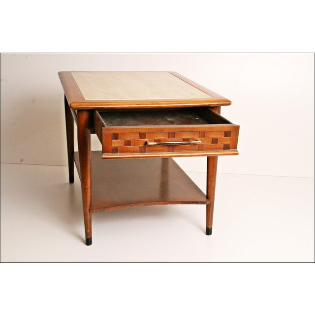 Danish Modern Wood Stone Top End Tables - Pair - Image 3 of 11