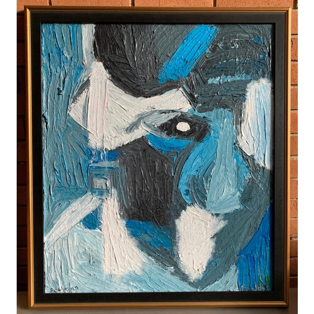 Vintage Mid Century Modern Abstract Head Portrait Oil Painting by Edelman For Sale - Image 11 of 11